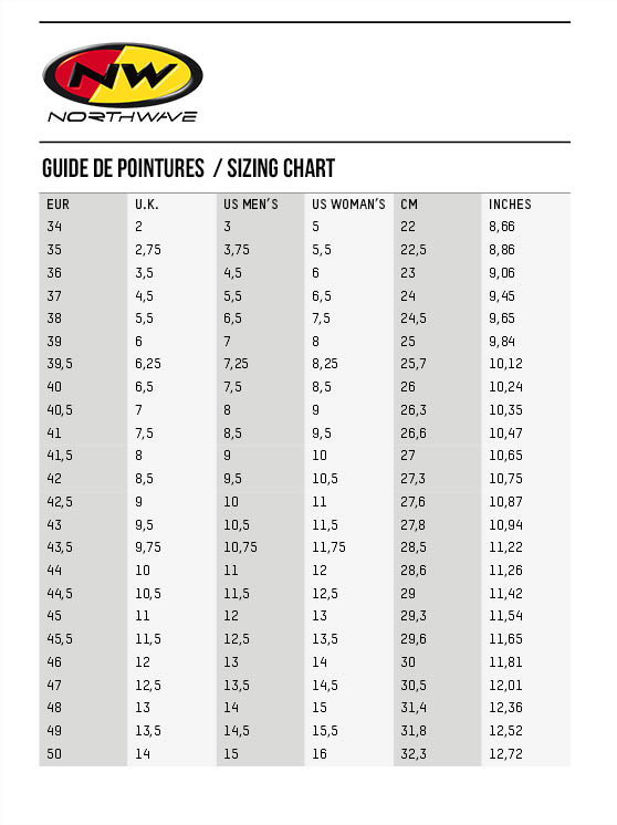 Northwave Mtb Shoes Size Chart
