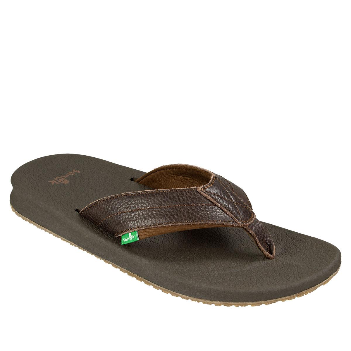 f6214b33737 Sanuk Brumeister Primo Men s Flip Flops Dark Brown 9 190108507379