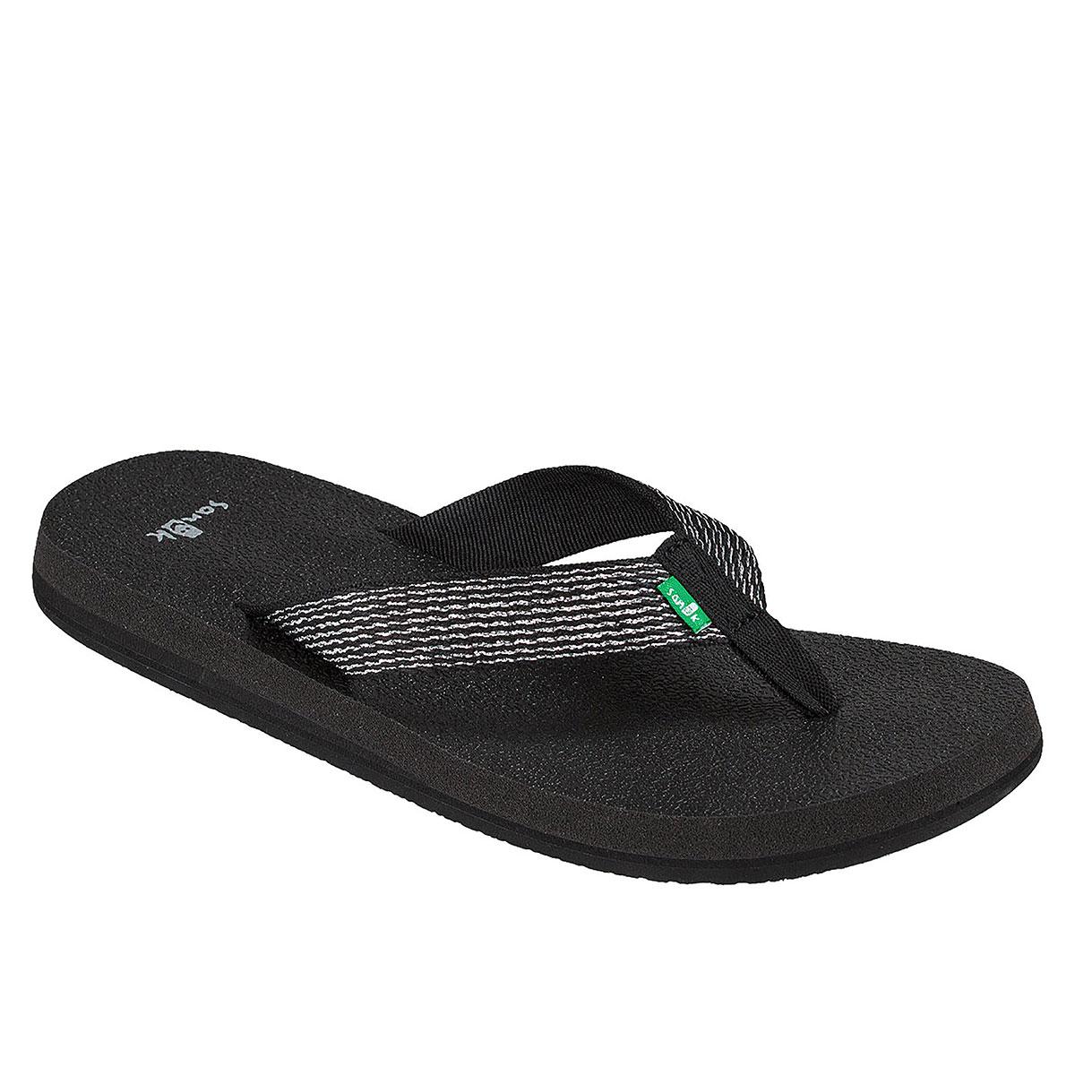 b43c88533e9333 Sanuk Yoga Mat Web-Bling Women s Flip Flops Black   Silver 7